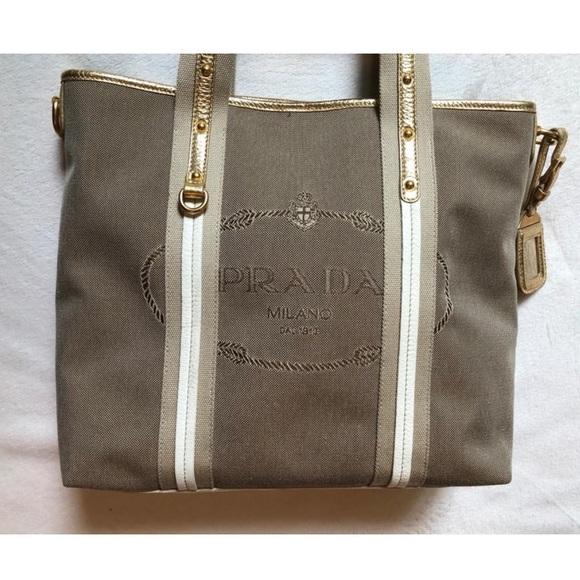 982cb20f0071dc Prada Bags | Canvas Logo Jacquard Shopping Bag | Poshmark